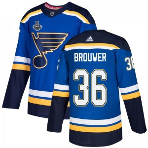 Troy Brouwer St. Louis Blues Youth Adidas Authentic Blue Home 2019 Stanley Cup Final Bound Jersey