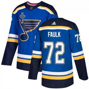 Justin Faulk St. Louis Blues Youth Adidas Authentic Blue Home 2019 Stanley Cup Final Bound Jersey
