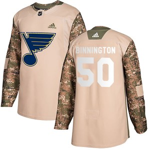 Jordan Binnington St. Louis Blues Men's Adidas Authentic Camo Veterans Day Practice Jersey
