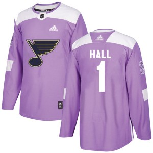 Glenn Hall St. Louis Blues Youth Adidas Authentic Purple Hockey Fights Cancer Jersey