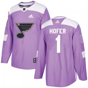 Joel Hofer St. Louis Blues Youth Adidas Authentic Purple Hockey Fights Cancer Jersey