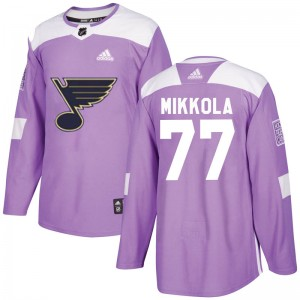 Niko Mikkola St. Louis Blues Youth Adidas Authentic Purple Hockey Fights Cancer Jersey
