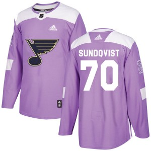 Oskar Sundqvist St. Louis Blues Youth Adidas Authentic Purple Hockey Fights Cancer Jersey