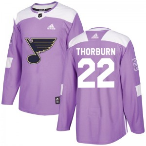 Chris Thorburn St. Louis Blues Youth Adidas Authentic Purple Hockey Fights Cancer Jersey