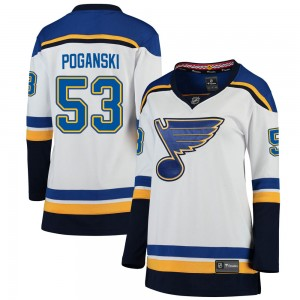 Austin Poganski St. Louis Blues Women's Fanatics Branded White ized Breakaway Away Jersey