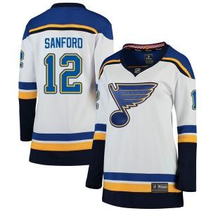 Zach Sanford St. Louis Blues Women's Fanatics Branded White Breakaway Away Jersey