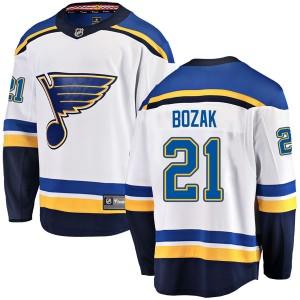 Tyler Bozak St. Louis Blues Men's Fanatics Branded White Breakaway Away Jersey