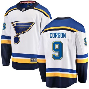 Shane Corson St. Louis Blues Men's Fanatics Branded White Breakaway Away Jersey