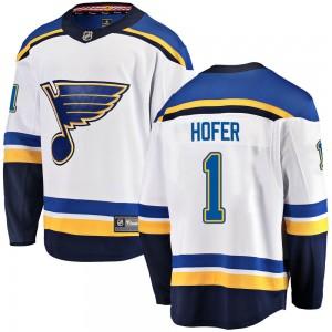 Joel Hofer St. Louis Blues Men's Fanatics Branded White Breakaway Away Jersey