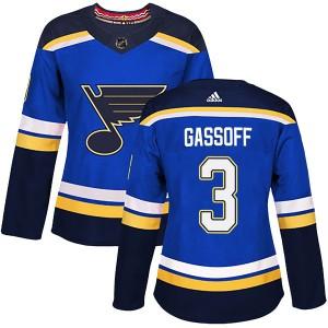 Bob Gassoff St. Louis Blues Women's Adidas Authentic Blue Home Jersey