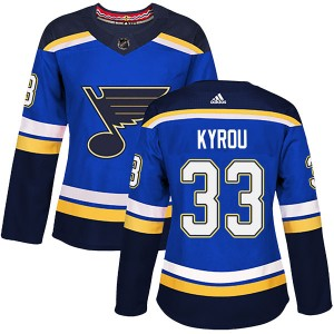 Jordan Kyrou St. Louis Blues Women's Adidas Authentic Blue Home Jersey