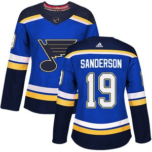 Derek Sanderson St. Louis Blues Women's Adidas Authentic Blue Home Jersey