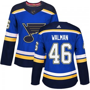 Jake Walman St. Louis Blues Women's Adidas Authentic Blue ized Home Jersey