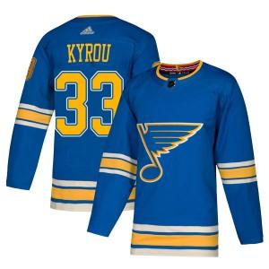 Jordan Kyrou St. Louis Blues Men's Adidas Authentic Blue Alternate Jersey
