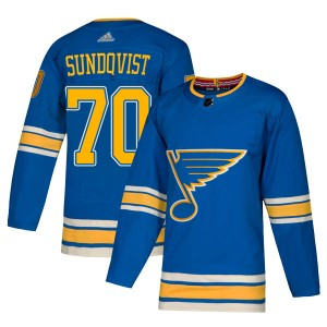 Oskar Sundqvist St. Louis Blues Men's Adidas Authentic Blue Alternate Jersey
