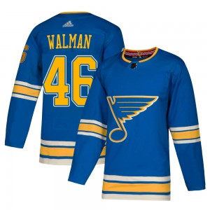 Jake Walman St. Louis Blues Men's Adidas Authentic Blue ized Alternate Jersey