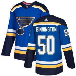 Jordan Binnington St. Louis Blues Youth Adidas Authentic Blue Home Jersey