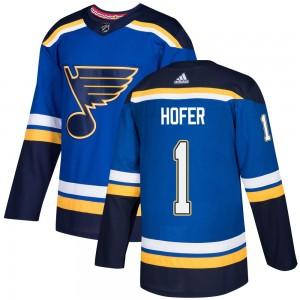 Joel Hofer St. Louis Blues Youth Adidas Authentic Blue Home Jersey