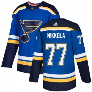Niko Mikkola St. Louis Blues Youth Adidas Authentic Blue Home Jersey