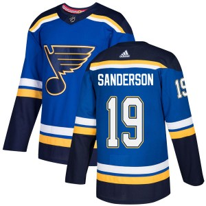 Derek Sanderson St. Louis Blues Youth Adidas Authentic Blue Home Jersey