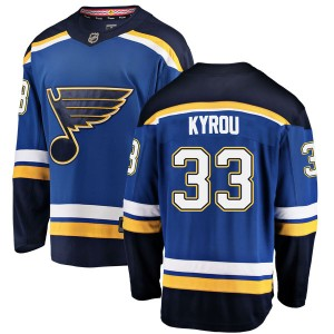 Jordan Kyrou St. Louis Blues Men's Fanatics Branded Blue Breakaway Home Jersey