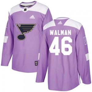 Jake Walman St. Louis Blues Men's Adidas Authentic Purple ized Hockey Fights Cancer Jersey