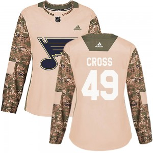 Tommy Cross St. Louis Blues Women's Adidas Authentic Camo Veterans Day Practice Jersey