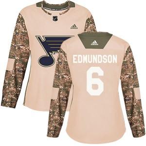 Joel Edmundson St. Louis Blues Women's Adidas Authentic Camo Veterans Day Practice Jersey