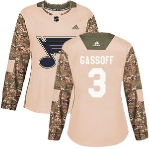 Bob Gassoff St. Louis Blues Women's Adidas Authentic Camo Veterans Day Practice Jersey