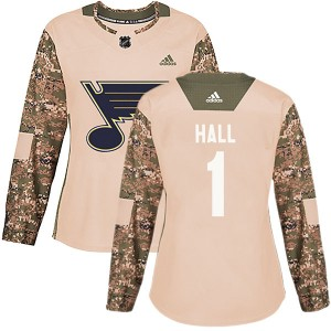 Glenn Hall St. Louis Blues Women's Adidas Authentic Camo Veterans Day Practice Jersey