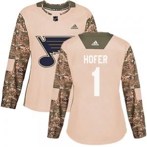 Joel Hofer St. Louis Blues Women's Adidas Authentic Camo Veterans Day Practice Jersey