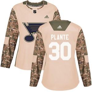 Jacques Plante St. Louis Blues Women's Adidas Authentic Camo Veterans Day Practice Jersey