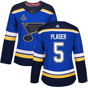 Bob Plager St. Louis Blues Women's Adidas Authentic Blue Home 2019 Stanley Cup Final Bound Jersey