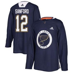 Zach Sanford St. Louis Blues Men's Adidas Authentic Blue Practice Jersey