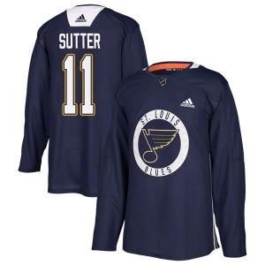 Brian Sutter St. Louis Blues Men's Adidas Authentic Blue Practice Jersey