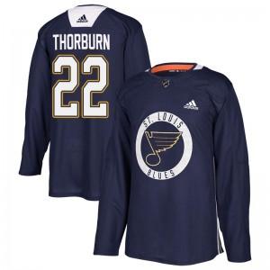 Chris Thorburn St. Louis Blues Men's Adidas Authentic Blue Practice Jersey