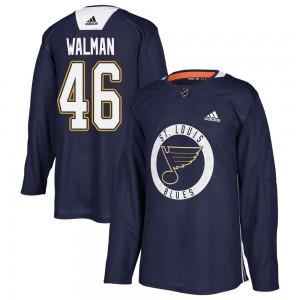 Jake Walman St. Louis Blues Men's Adidas Authentic Blue ized Practice Jersey
