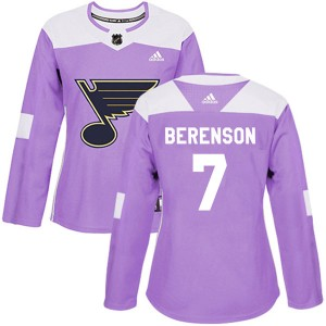 Red Berenson St. Louis Blues Women's Adidas Authentic Purple Hockey Fights Cancer Jersey