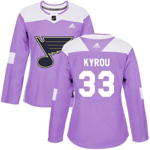 Jordan Kyrou St. Louis Blues Women's Adidas Authentic Purple Hockey Fights Cancer Jersey