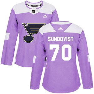 Oskar Sundqvist St. Louis Blues Women's Adidas Authentic Purple Hockey Fights Cancer Jersey