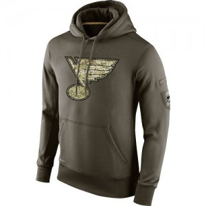 St. Louis Blues Men's Nike Olive Salute To Service KO Performance Hoodie