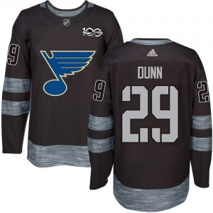 Vince Dunn St. Louis Blues Men's Adidas Authentic Black 1917-2017 100th Anniversary Jersey