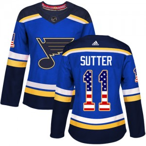 Brian Sutter St. Louis Blues Women's Adidas Authentic Blue USA Flag Fashion Jersey