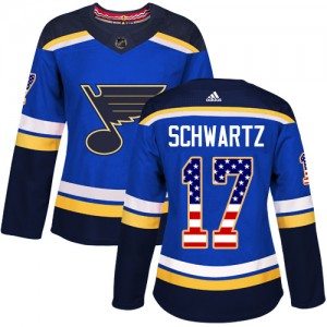 Jaden Schwartz St. Louis Blues Women's Adidas Authentic Blue USA Flag Fashion Jersey