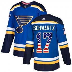 Jaden Schwartz St. Louis Blues Youth Adidas Authentic Blue USA Flag Fashion Jersey