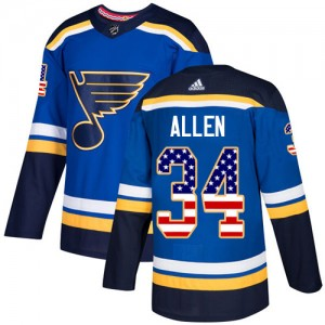 Jake Allen St. Louis Blues Youth Adidas Authentic Blue USA Flag Fashion Jersey