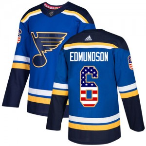 Joel Edmundson St. Louis Blues Youth Adidas Authentic Blue USA Flag Fashion Jersey