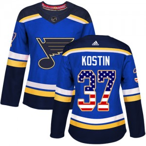 Klim Kostin St. Louis Blues Women's Adidas Authentic Blue USA Flag Fashion Jersey