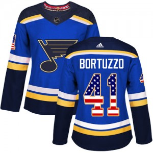 Robert Bortuzzo St. Louis Blues Women's Adidas Authentic Blue USA Flag Fashion Jersey