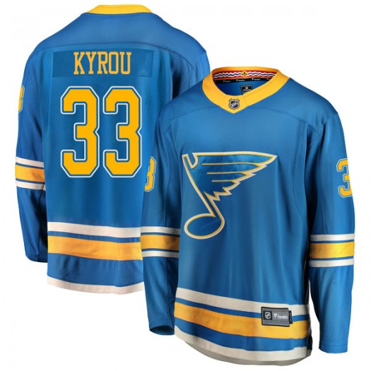 Jordan Kyrou St. Louis Blues Men's Fanatics Branded Blue Breakaway Alternate Jersey